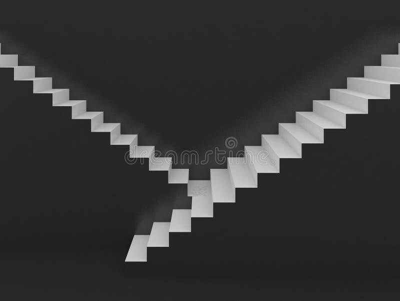 Weiße Treppe im schwarzen Hintergrund, 3d stock abbildung