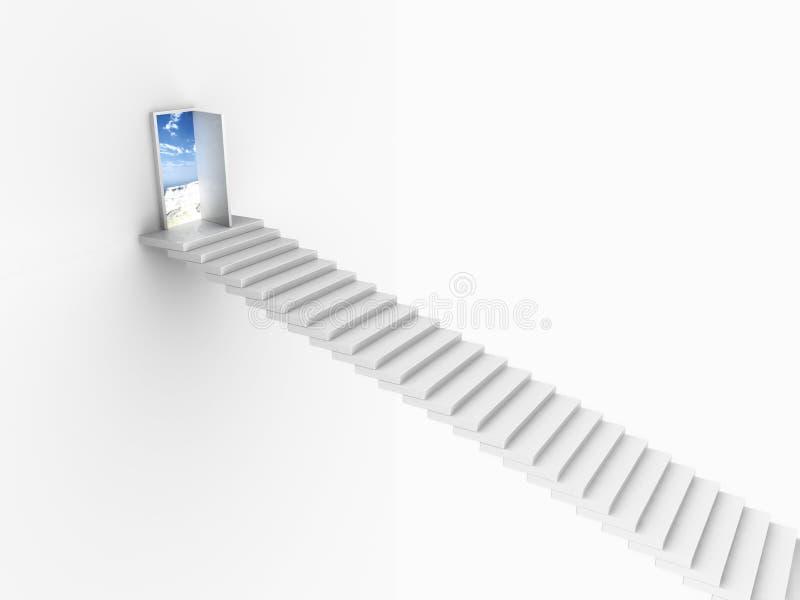 Weiße Treppen, die zu einer offenen Tür aufkommen lizenzfreie abbildung