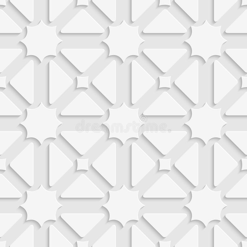 Weiße Triagen und Sterne mit Schattenfliesenverzierung stock abbildung