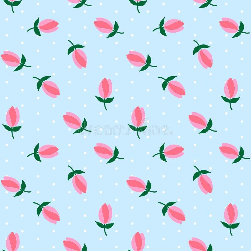 Weiße Tupfen auf hellblauem Hintergrund blühen rosa Tulpenmeer vektor abbildung
