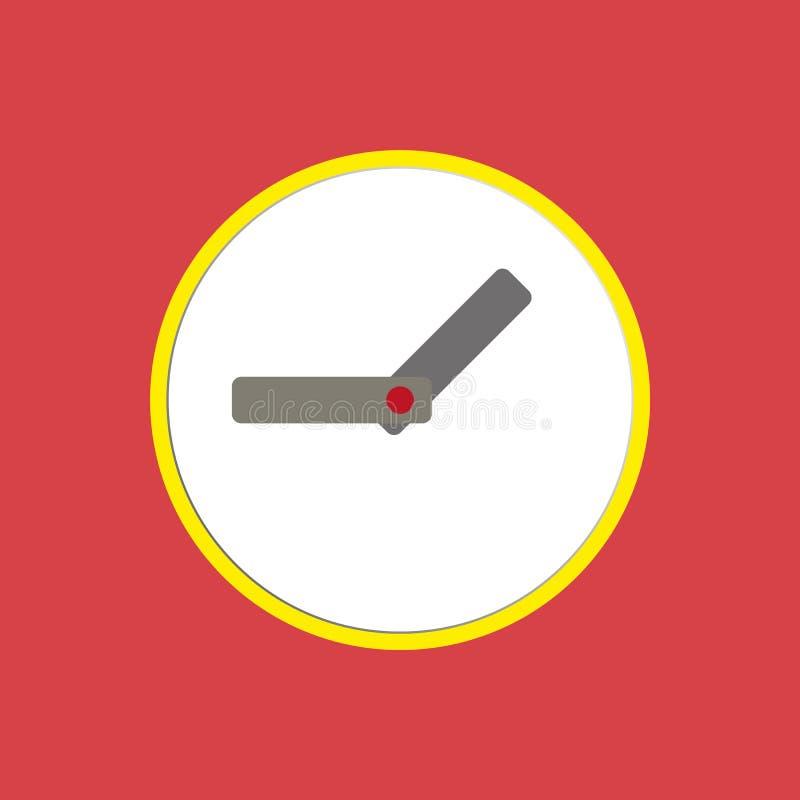 Weiße Uhr mit grauer Pfeilvektorikone auf rotem Hintergrund Uhrzeichen Uhrikone eps10 stock abbildung
