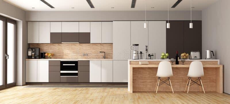 Braune Küche weiße und braune moderne küche stock abbildung illustration