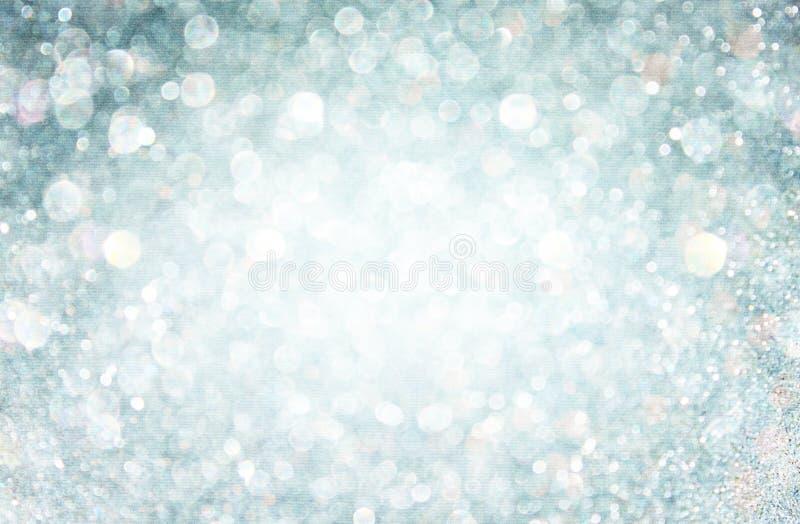 Weiße und graue bokeh Lichter. defocused Hintergrund lizenzfreies stockfoto