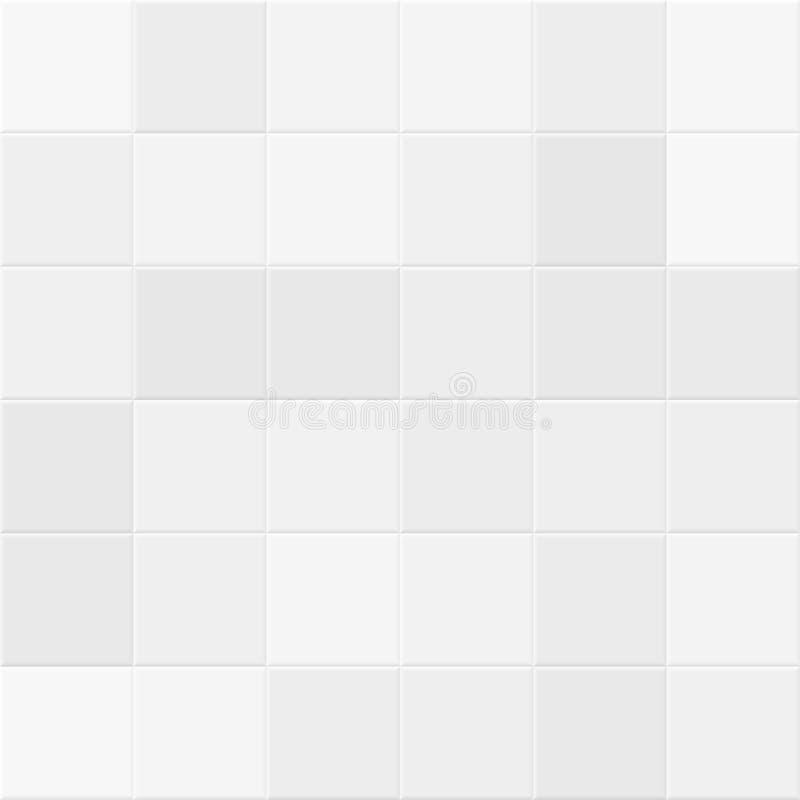 Weiße und graue Fliesen auf Badezimmerwand Mit Ziegeln gedeckte nahtlose Beschaffenheit des Vektors vektor abbildung