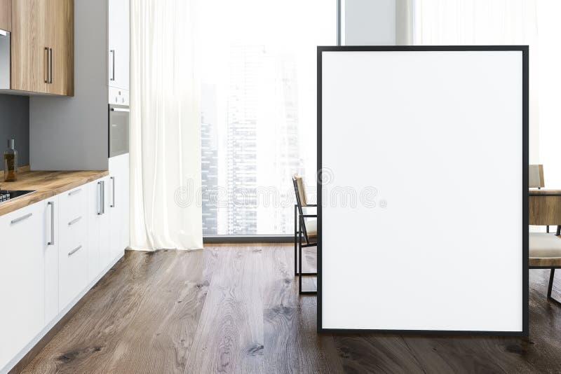 Weiße und graue Küche, lange Tabelle, Plakat lizenzfreie abbildung