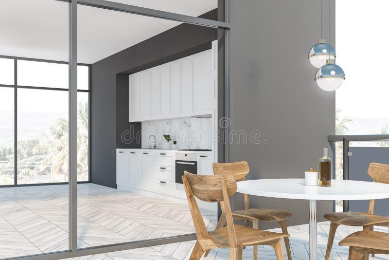 Weiße und graue Küche mit Balkon lizenzfreie abbildung