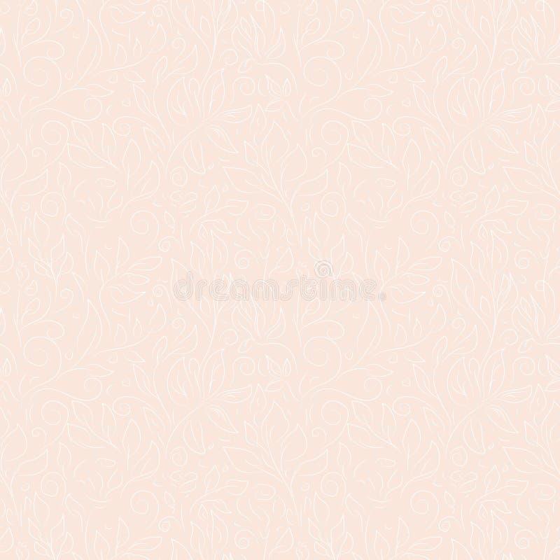 Weiße und graue Konturen des Handgezogenen Gekritzels von abstrakten Blumen und von Blättern auf rosa Hintergrund vektor abbildung