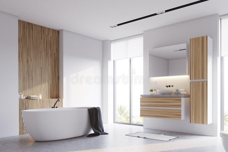 Weiße und hölzerne Badezimmerecke lizenzfreie abbildung