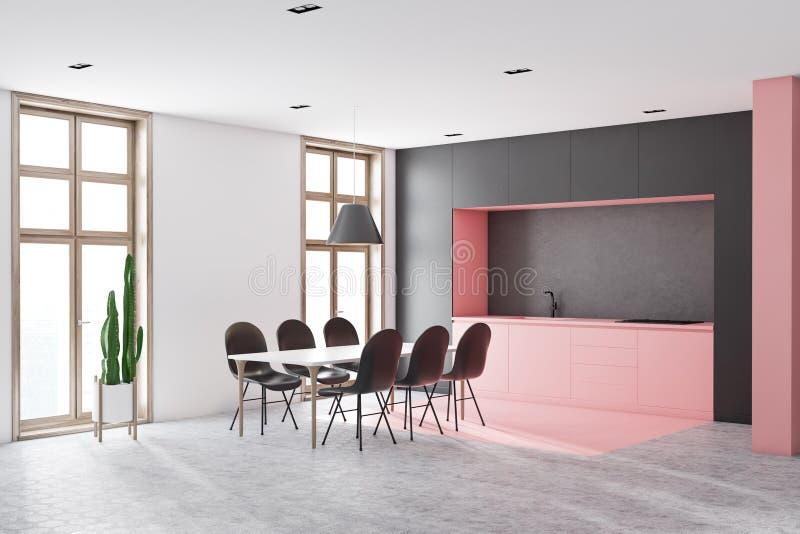 Weiße und rosa Küchenecke mit langer Tabelle stock abbildung