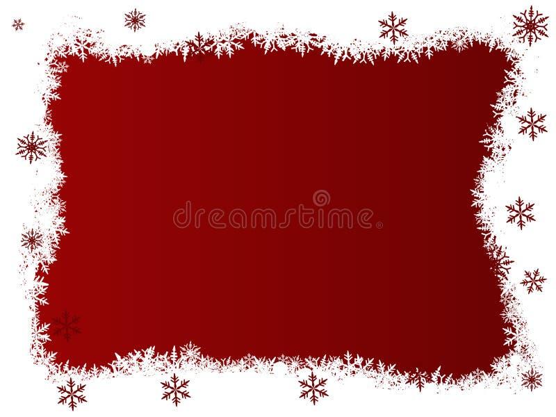 Weiße und rote Schneeflocken lizenzfreie abbildung