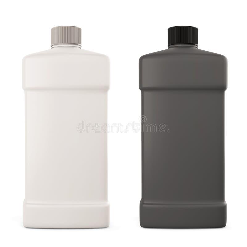 Weiße und schwarze Flasche mit Reinigungsmittel stock abbildung
