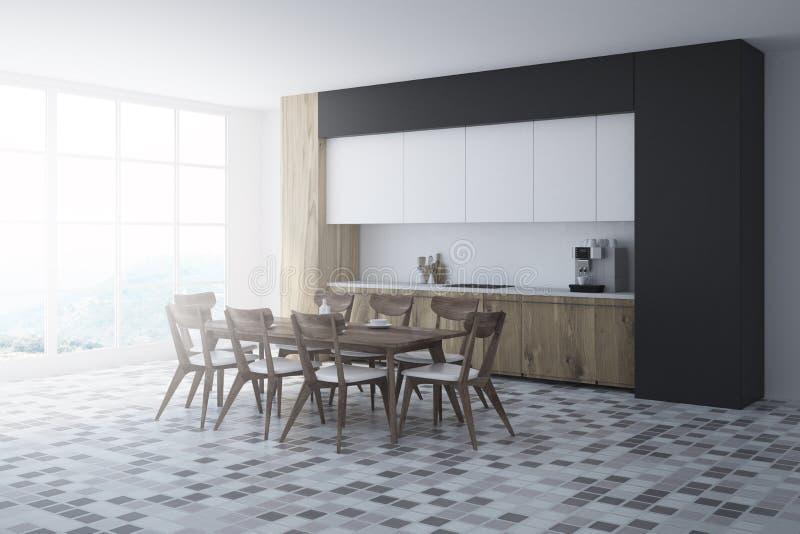 Weiße und schwarze Küchenecke, Holztisch stock abbildung