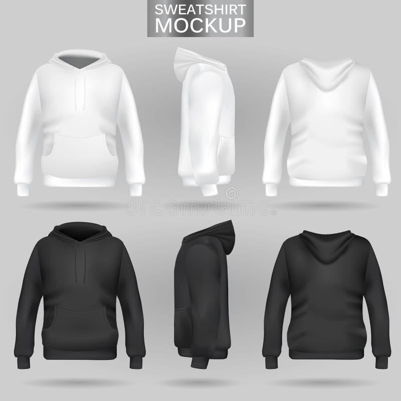 Weiße und schwarze Sweatshirt Hoodieschablone in drei Maßen vektor abbildung