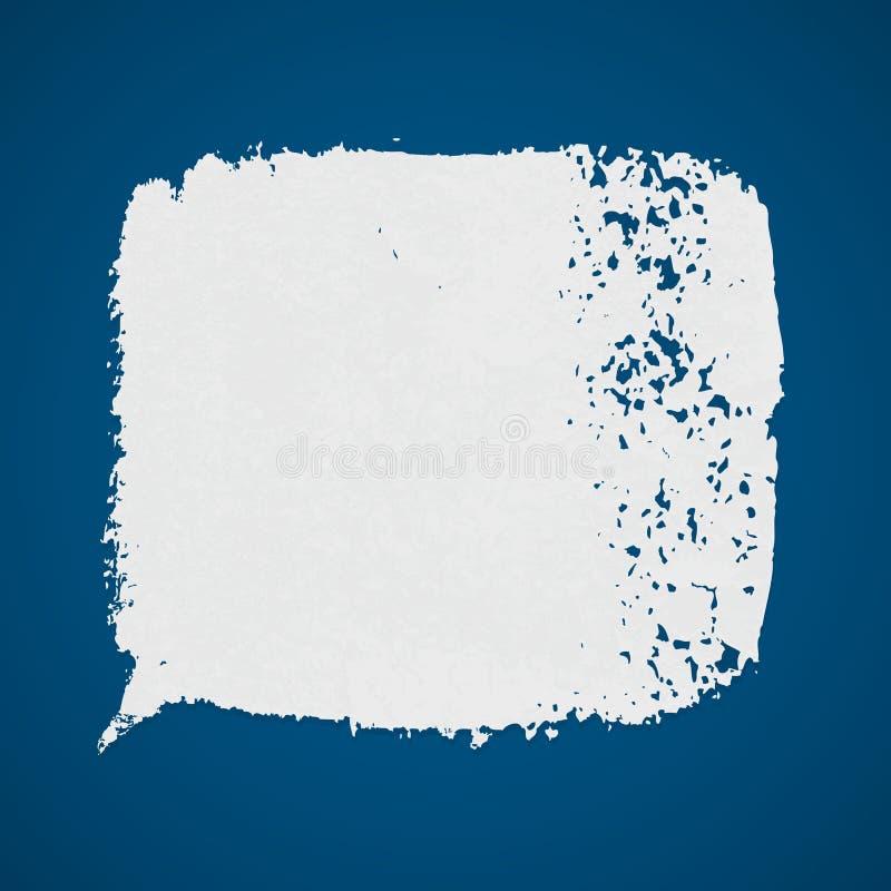 Weiße Vektorschmutz-Farbenstelle auf blauem Hintergrund lizenzfreie abbildung