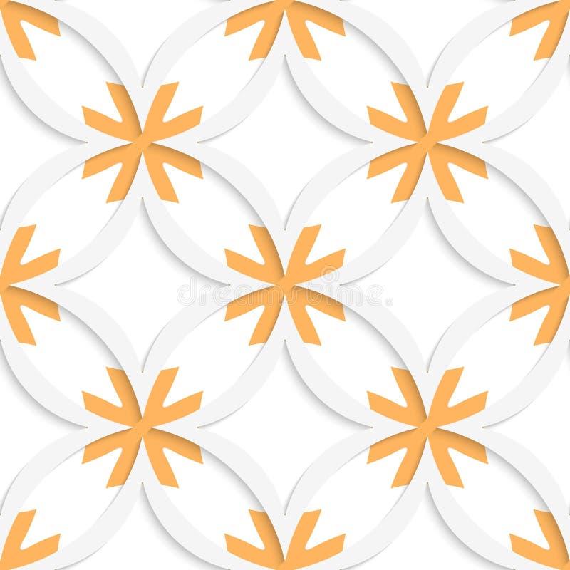 Weiße vertikale spitze Quadrate mit der Orangenüberlagerung nahtlos lizenzfreie abbildung