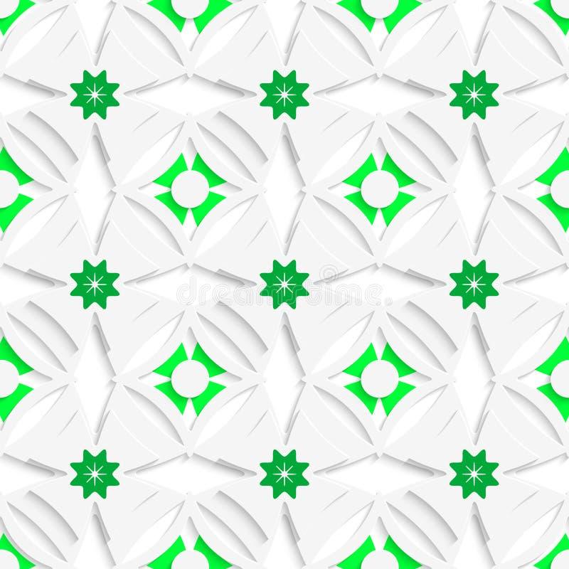 Weiße Verzierungs- und Grünüberlagerung nahtlos lizenzfreie abbildung