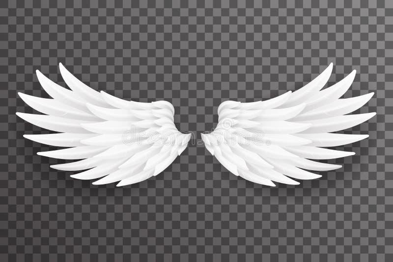 Weiße Vogelengelsfliege beflügelt Hintergrund-Vektorillustration des realistischen Entwurfs 3d transparente stock abbildung