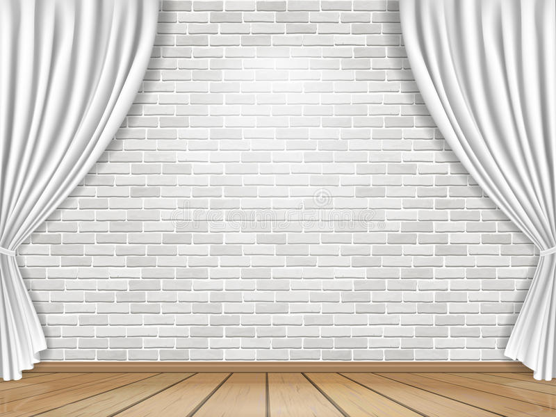 wei e vorh nge und backsteinmauerhintergrund vektor abbildung illustration von fu boden. Black Bedroom Furniture Sets. Home Design Ideas