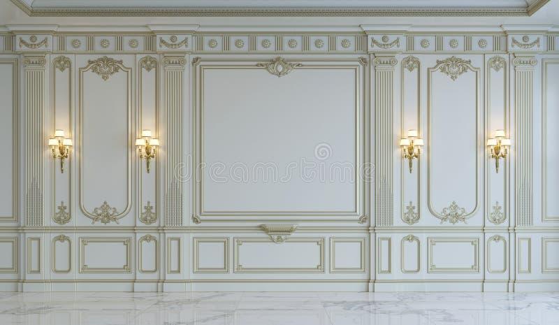 Weiße Wände in der klassischen Art mit Vergoldung Wiedergabe 3d lizenzfreie stockbilder