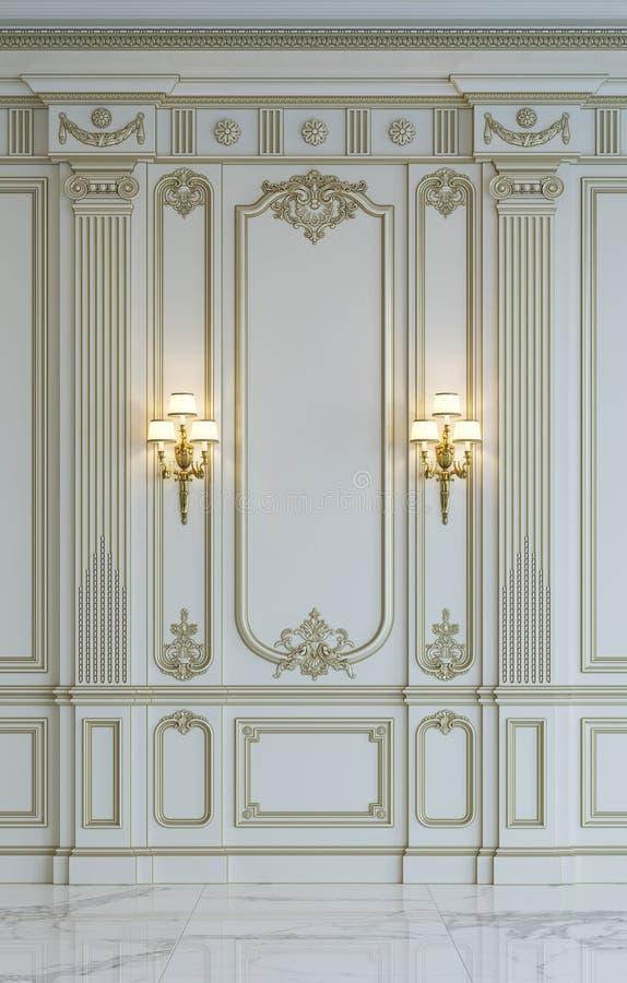Weiße Wände in der klassischen Art mit Vergoldung Wiedergabe 3d stockfotos