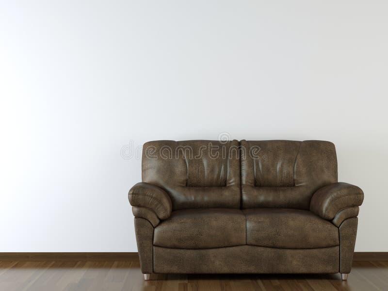 Weiße Wand der Innenarchitektur mit lederner Couch stock abbildung