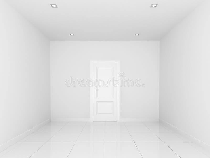 Weiße Wand in einem leeren Raum, Innenraum 3d lizenzfreie abbildung