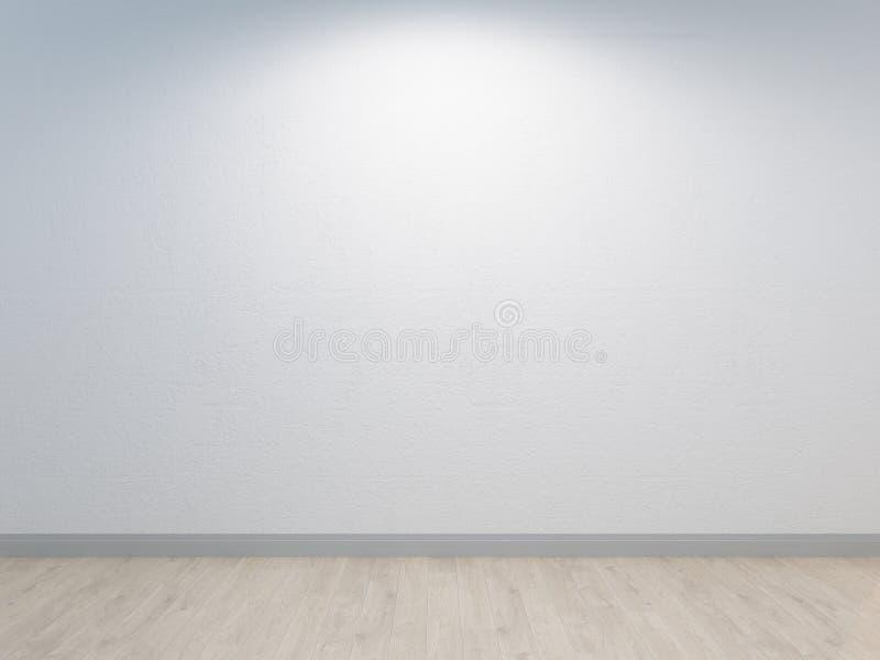 Weiße Wand mit dem Betonvergipsen und hellem Bretterboden Weißes backround stock abbildung