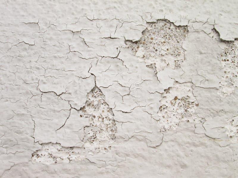 Weiße Wand mit Sprüngen stockbilder