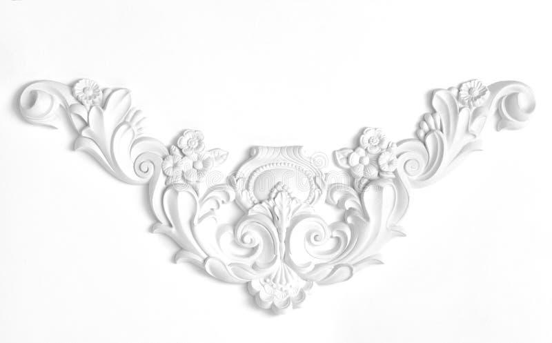 Weiße Wand verziert mit Stuck, in der Renaissance, barock stockfotografie