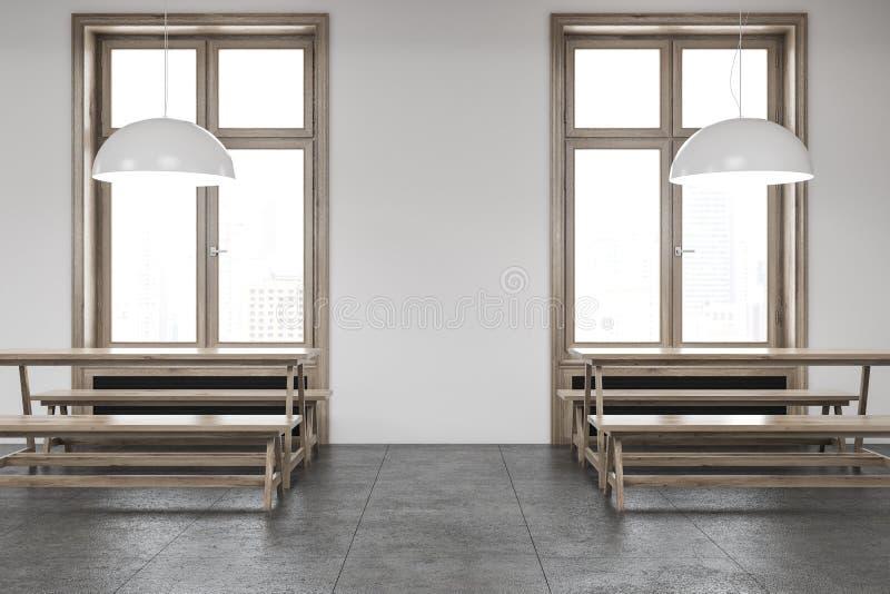 Weiße Wandstange mit Holzbanken schließen oben lizenzfreie abbildung