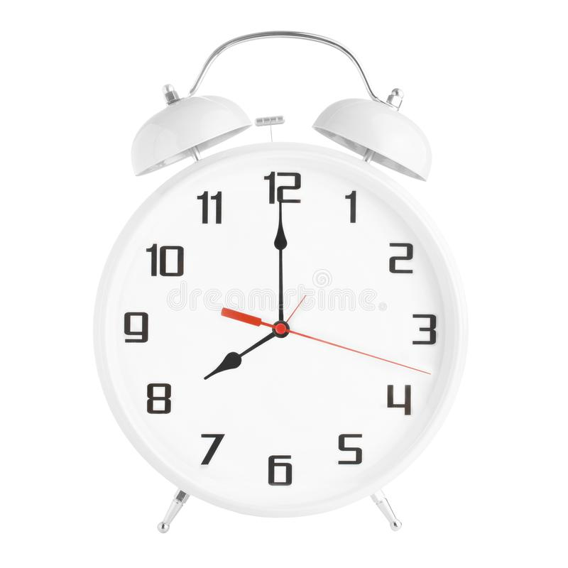 Weiße Weckervertretung acht Uhr lokalisiert auf weißem Hintergrund stockfoto