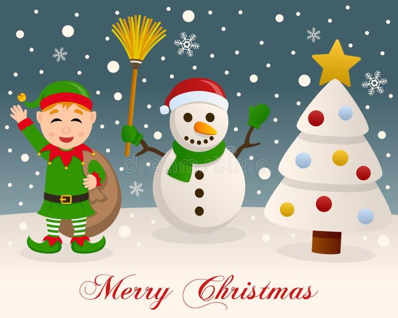 Weiße Weihnacht - Schneemann u. grüne Elfe lizenzfreie abbildung