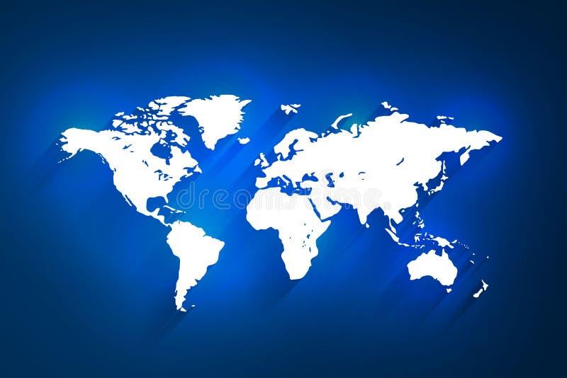 Weiße Weltkarte auf blauem Hintergrund, Vektor lizenzfreie abbildung