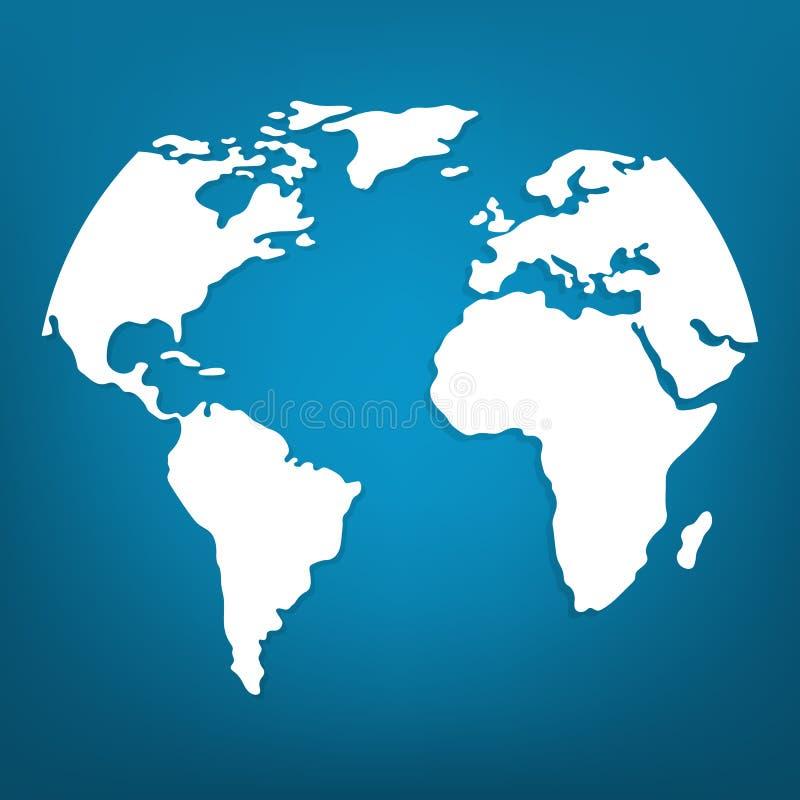 Weiße Weltkarte oder globale Kartographie auf blauem Hintergrund Vektorabbildung f?r Ihr design vektor abbildung