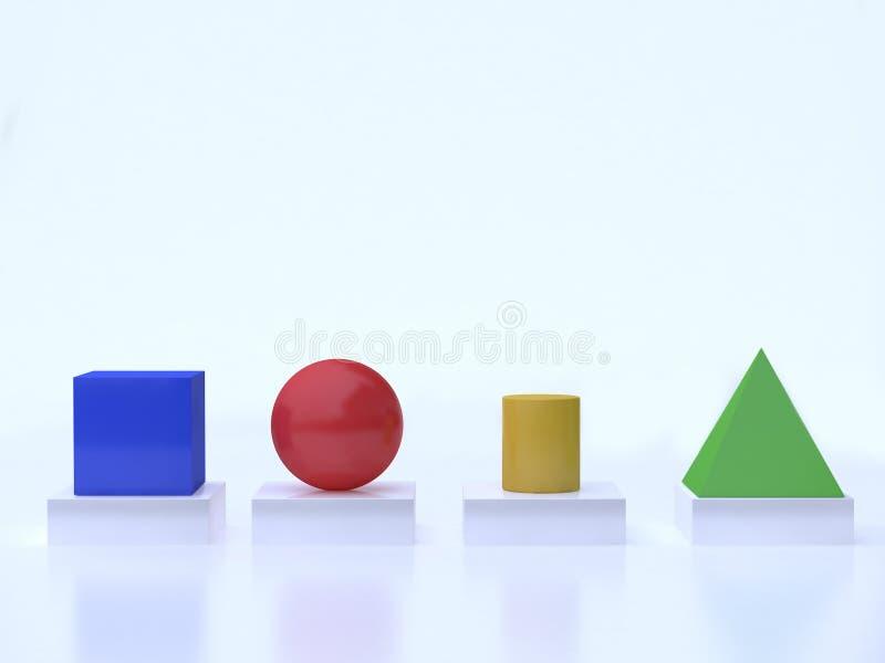 Weiße Wiedergabe des Hintergrundes 3d der bunten geometrischen Formformwürfelbereichzylinderpyramidenbodenreflexion stock abbildung