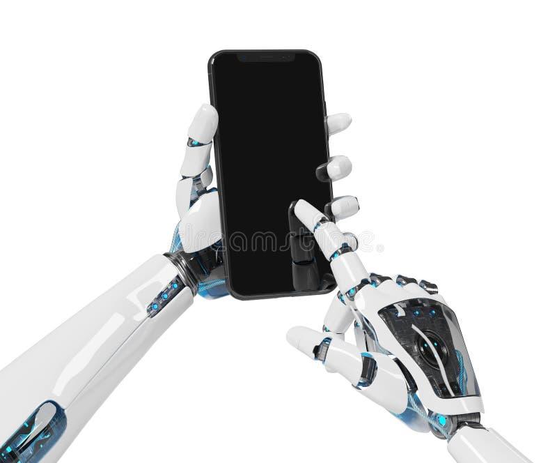Weiße Wiedergabe des Roboterhandholding Smartphonemodells 3d lizenzfreie abbildung