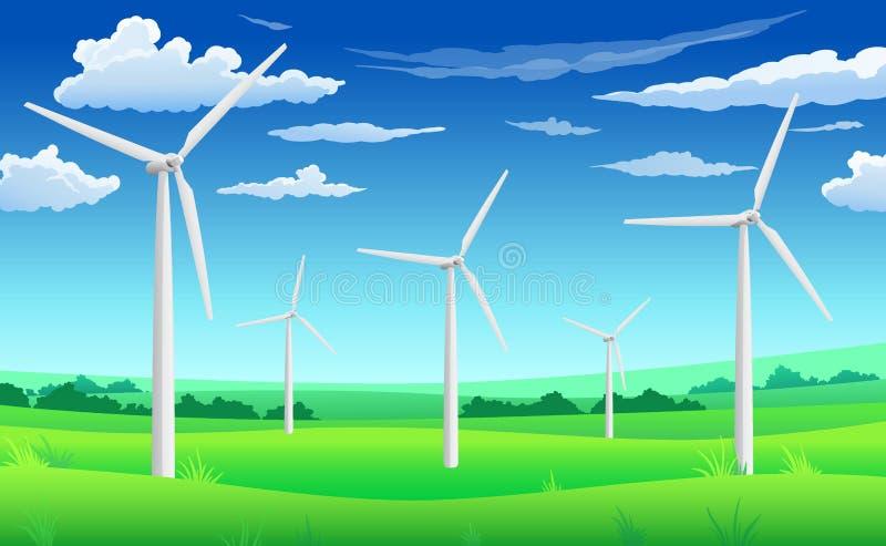 Weiße Windgeneratormühlen, Windkraftanlage auf grünem Feld, Windenergie eco Konzept lizenzfreie abbildung