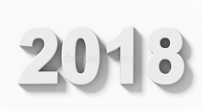Weiße Zahlen 3d des Jahres 2018 mit dem Schatten lokalisiert auf weiß- Ortho lizenzfreie abbildung