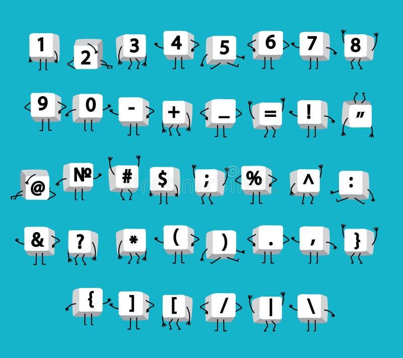 Weiße Zahlen, Mathesymbole, Taschenrechner, Interpunktion auf Tastaturcomputer mit den Beinen und Arme mögen lustige kleine Männe lizenzfreie abbildung