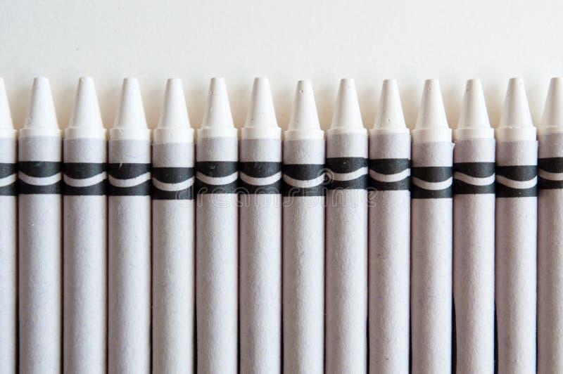 Weiße Zeichenstifte stockfoto