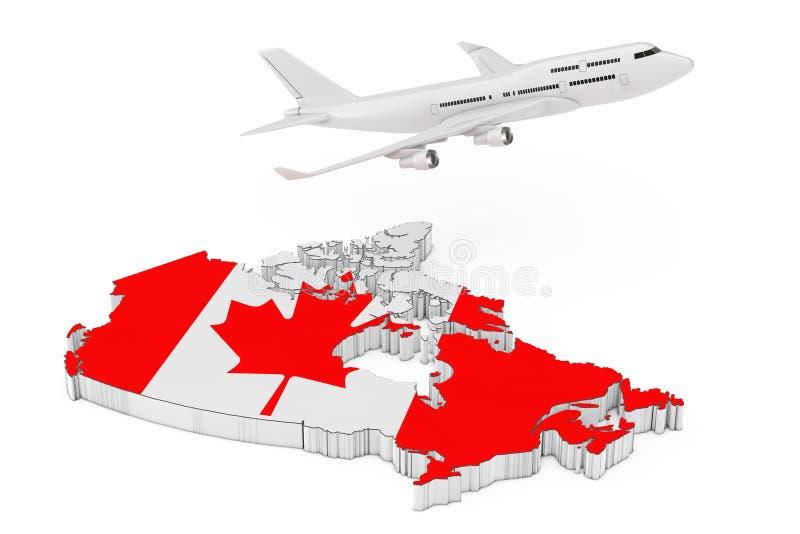 Weißen Jet Passengers Flugzeug, das über Kanada-Karte mit Flagge fliegt lizenzfreie abbildung