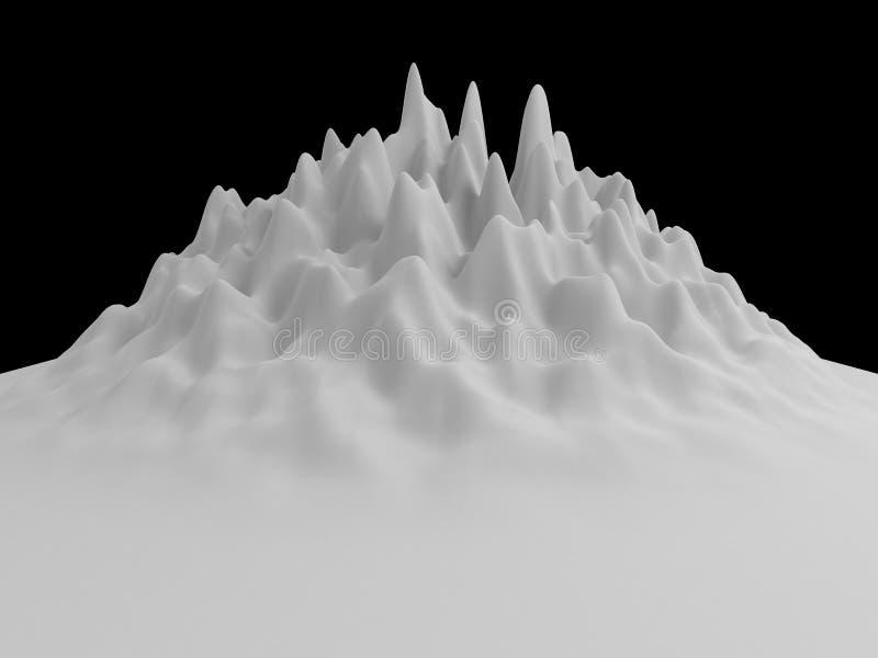 weißer abstrakter gewellter Hintergrund des Hügels 3d Landschafts vektor abbildung