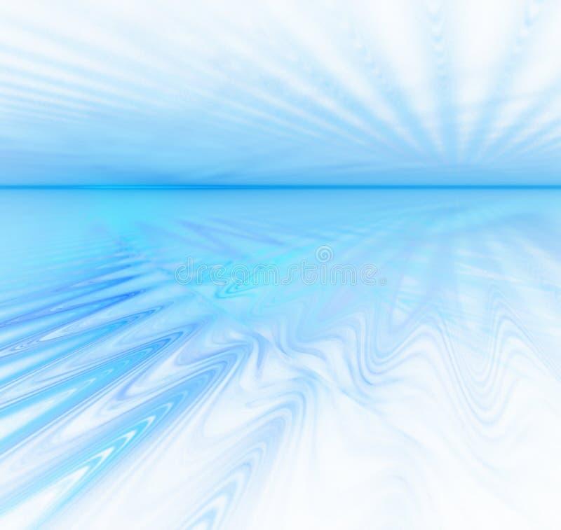 Weißer abstrakter Hintergrund mit Fractalbeschaffenheit Blaues Wasser horiz stock abbildung