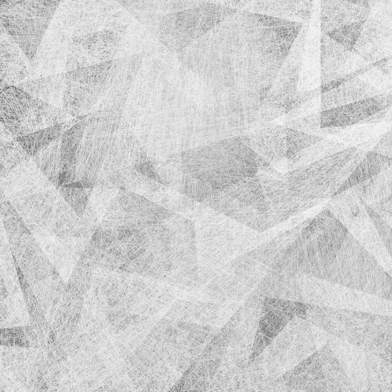 Weißer abstrakter Hintergrund mit schwarzem und grauem modernem geometrischem Musterdesign und alter Weinlesebeschaffenheit lizenzfreie abbildung