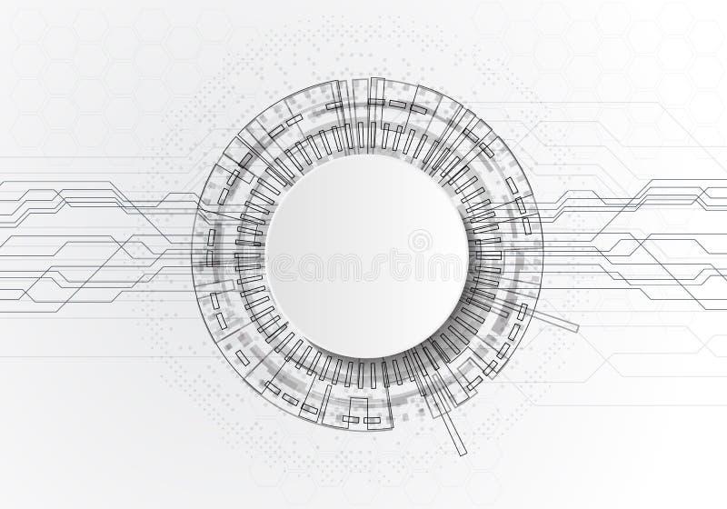 Weißer abstrakter Technologiehintergrund des Kreises mit Kommunikationskonzept-Innovationshintergrund der verschiedenen Technolog vektor abbildung