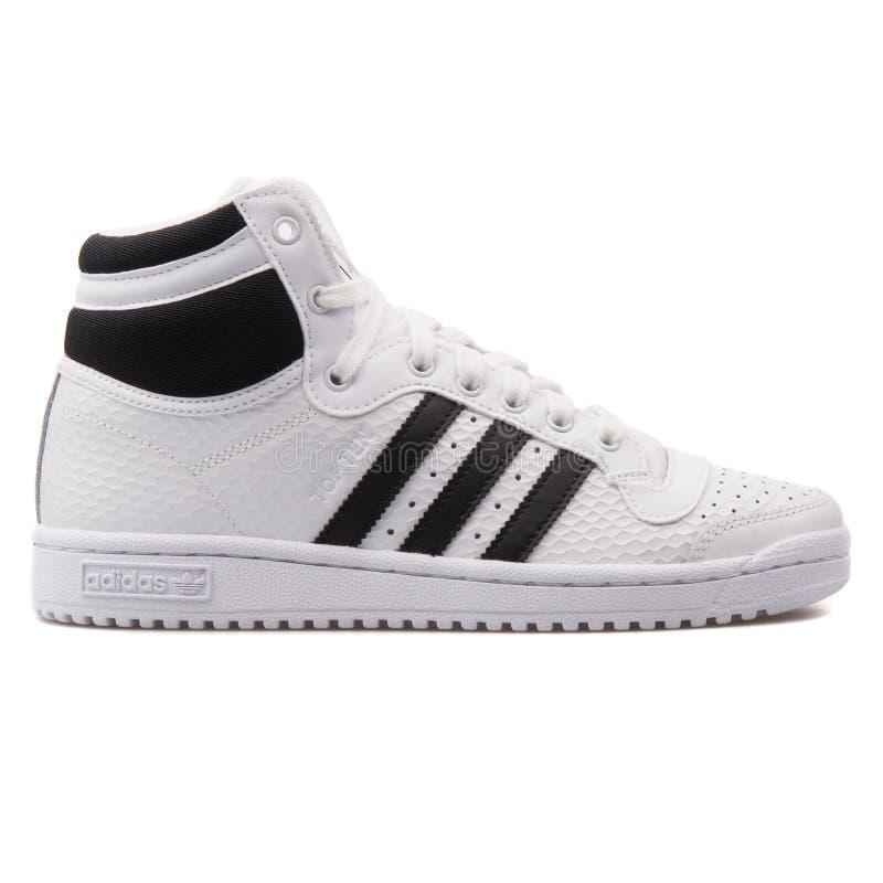 Weißer Adidas-Top Ten hoher und schwarzer Turnschuh stockbilder
