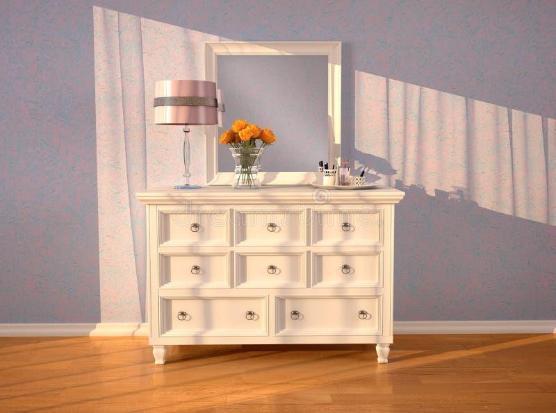 Weißer Aufbereiter mit einem Spiegel im Innenraum lizenzfreie abbildung