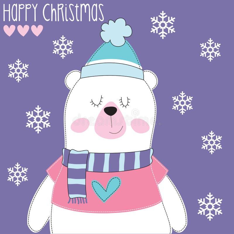 Weißer Bär mit Kappenvektorillustration lizenzfreie abbildung
