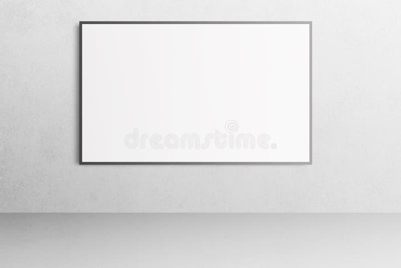 Weißer Büroinnenraum mit leerem Plakatmodell auf der Wand stockfotos