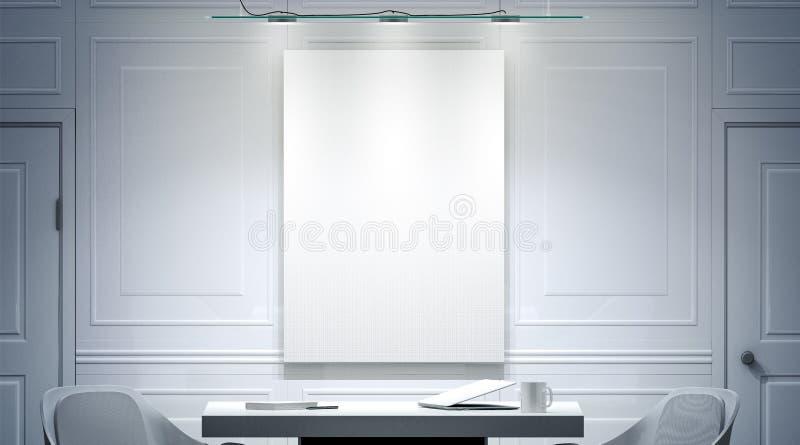 Weißer Büroinnenraum mit leerem Plakatmodell auf der Wand stockfoto